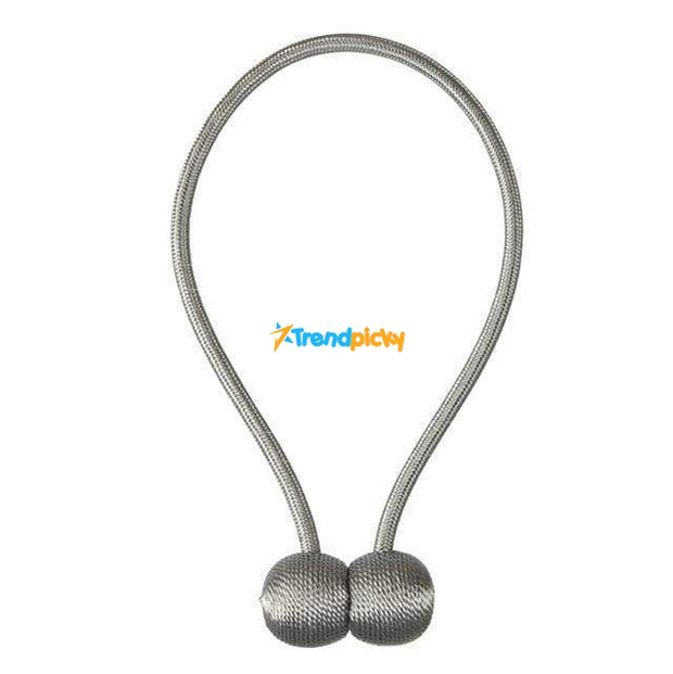 Magnetic Curtain Tieback Set Silver gray Magnetic Curtain Tieback trendpicky