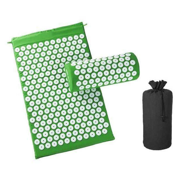 Memory Foam Acupressure Mat with Pillow and Travel Bag Bonus Green Home trendpicky