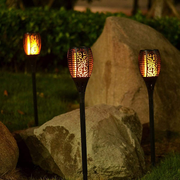 Outdoor Solar Flame Light Torch Black (1 Torch) Outdoor Solar Flame Light Torch 2 Pcs trendpicky