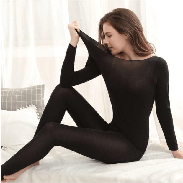 Seamless Thermal Underwear Set One Size / Black Seamless Thermal Underwear Set trendpicky