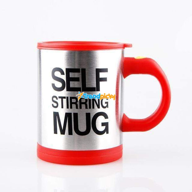 Self-Stirring Coffee Mug Red Self Stirring Mug with Lid trendpicky