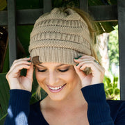 Soft Knit Ponytail Beanie Khaki Brown Clothes trendpicky