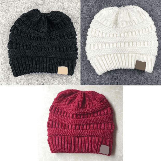 Soft Knit Ponytail Beanies Buy 1 Get 2 Free Black, White, Red trendpicky