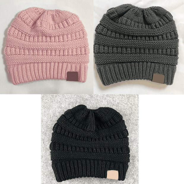 Soft Knit Ponytail Beanies Buy 1 Get 2 Free Pink, Grey, Black trendpicky