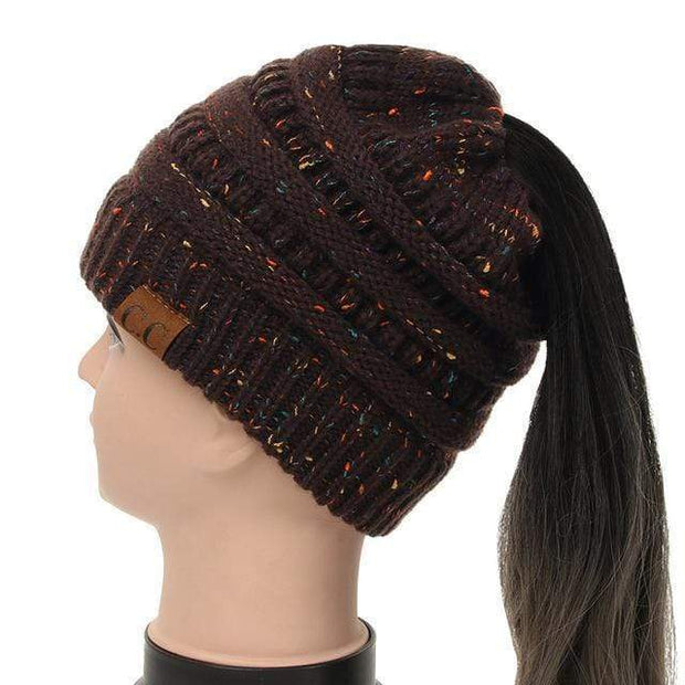Soft Knit Ponytail Confetti Beanie Brown Soft Knit Ponytail Beanie Confetti trendpicky