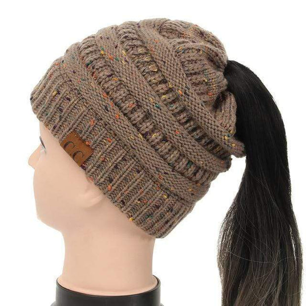 Soft Knit Ponytail Confetti Beanie Cocoa Soft Knit Ponytail Beanie Confetti trendpicky