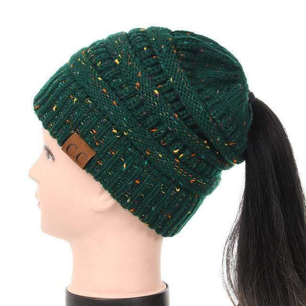Soft Knit Ponytail Confetti Beanie Forest Green Soft Knit Ponytail Beanie Confetti trendpicky