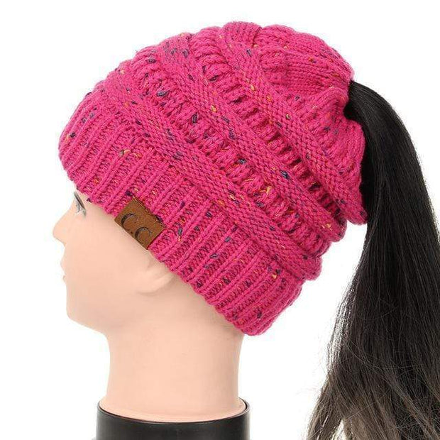 Soft Knit Ponytail Confetti Beanie Hot Pink Soft Knit Ponytail Beanie Confetti trendpicky