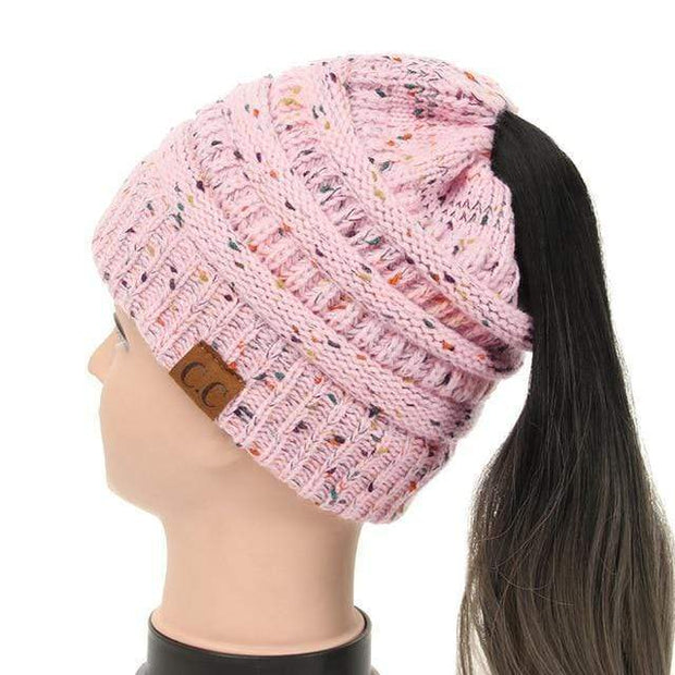 Soft Knit Ponytail Confetti Beanie Light Pink Soft Knit Ponytail Beanie Confetti trendpicky