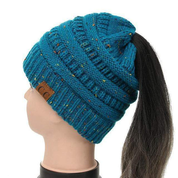 Soft Knit Ponytail Confetti Beanie Teal Soft Knit Ponytail Beanie Confetti trendpicky