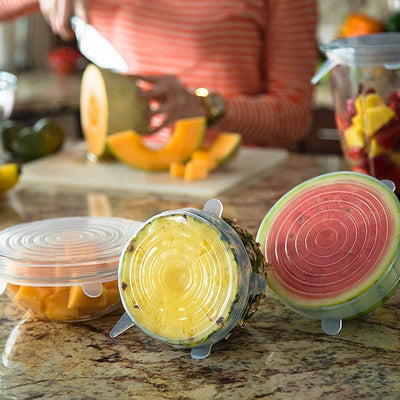 Stretch & Seal Lids (6 Pieces) Clear Stretch & Seal Lids trendpicky