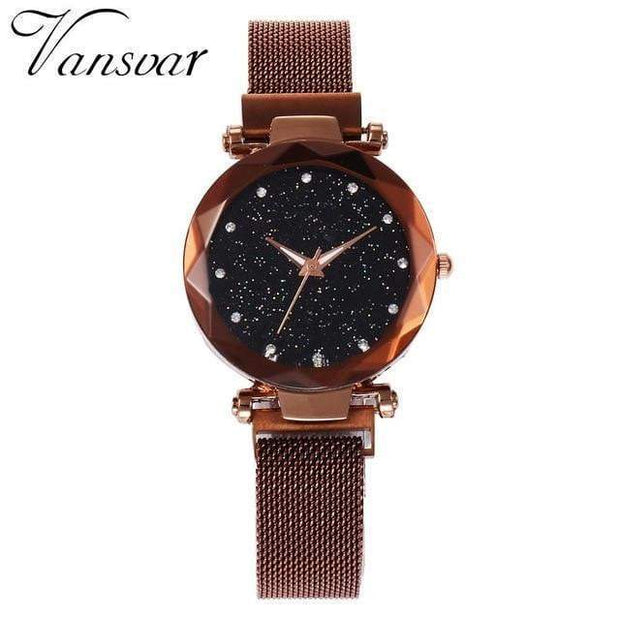 Super Cute Starry Sky Women's Wristwatch brown Wristwatch trendpicky