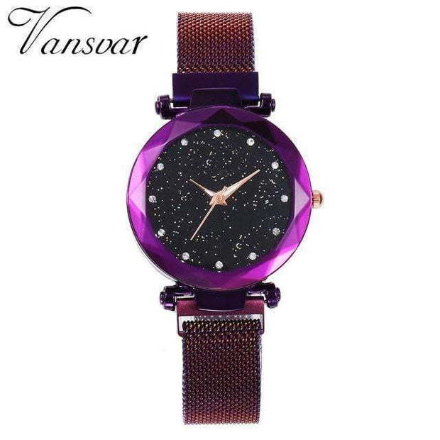 Super Cute Starry Sky Women's Wristwatch purple Wristwatch trendpicky