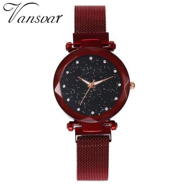 Super Cute Starry Sky Women's Wristwatch red Wristwatch trendpicky