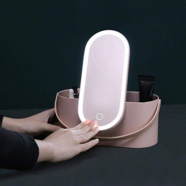 Travel Makeup Mirror Storage Box Pink trendpicky