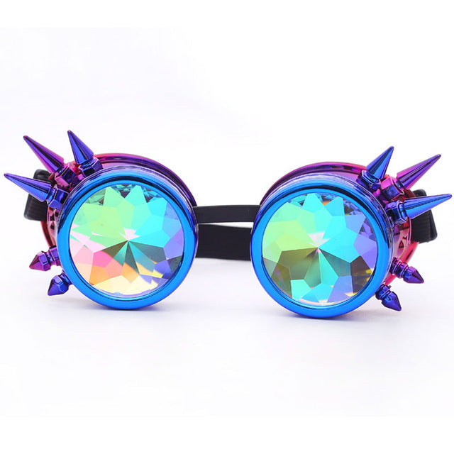 purple and pink kaleidoscope goggles