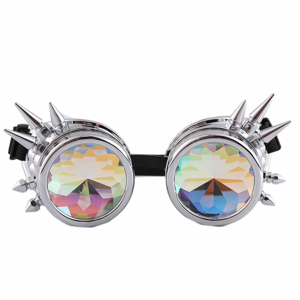 Silver kaleidoscope goggles