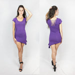 lace back mini dress by Ministry of style in Purple