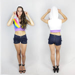 Women in Blue denim shorts by Ministry of Style