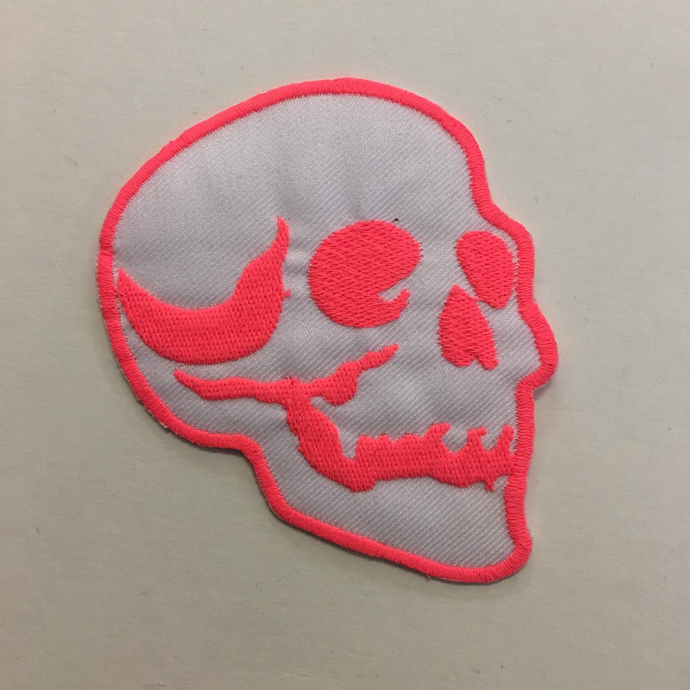 Pink skull iron-on patch