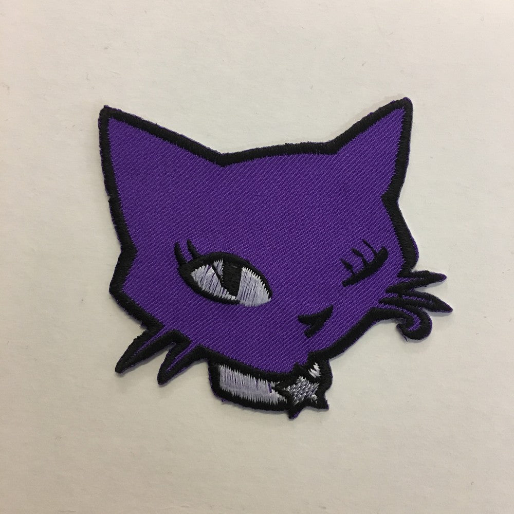 cat face iron on patch