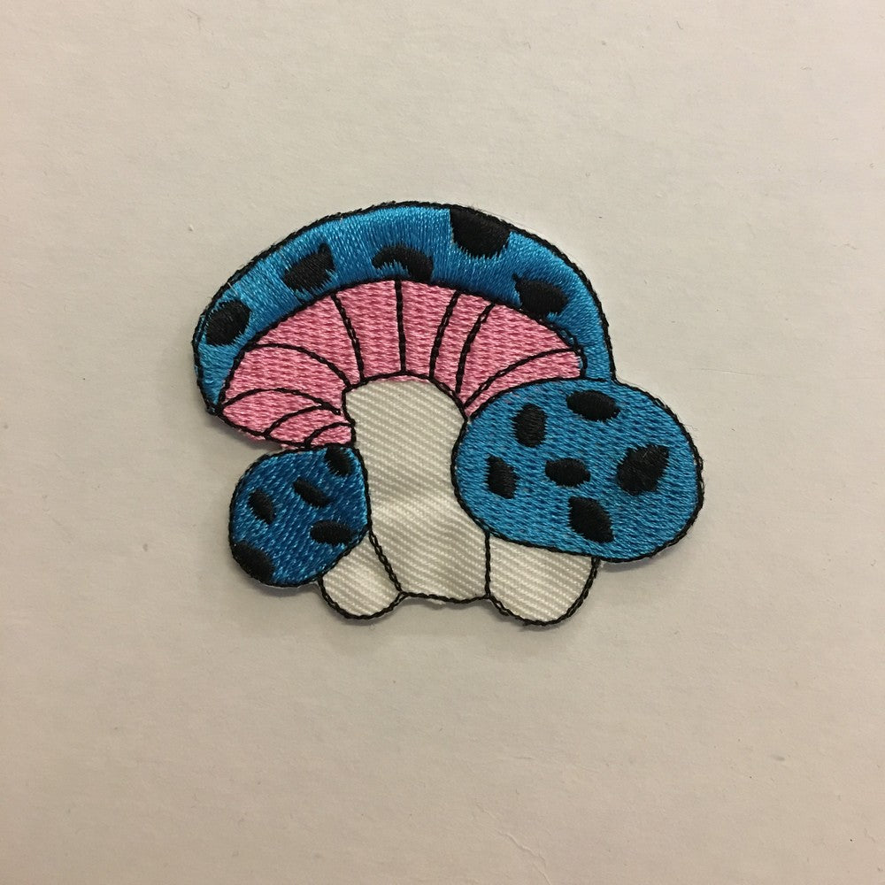 Sky Blue Mushroom iron on patch