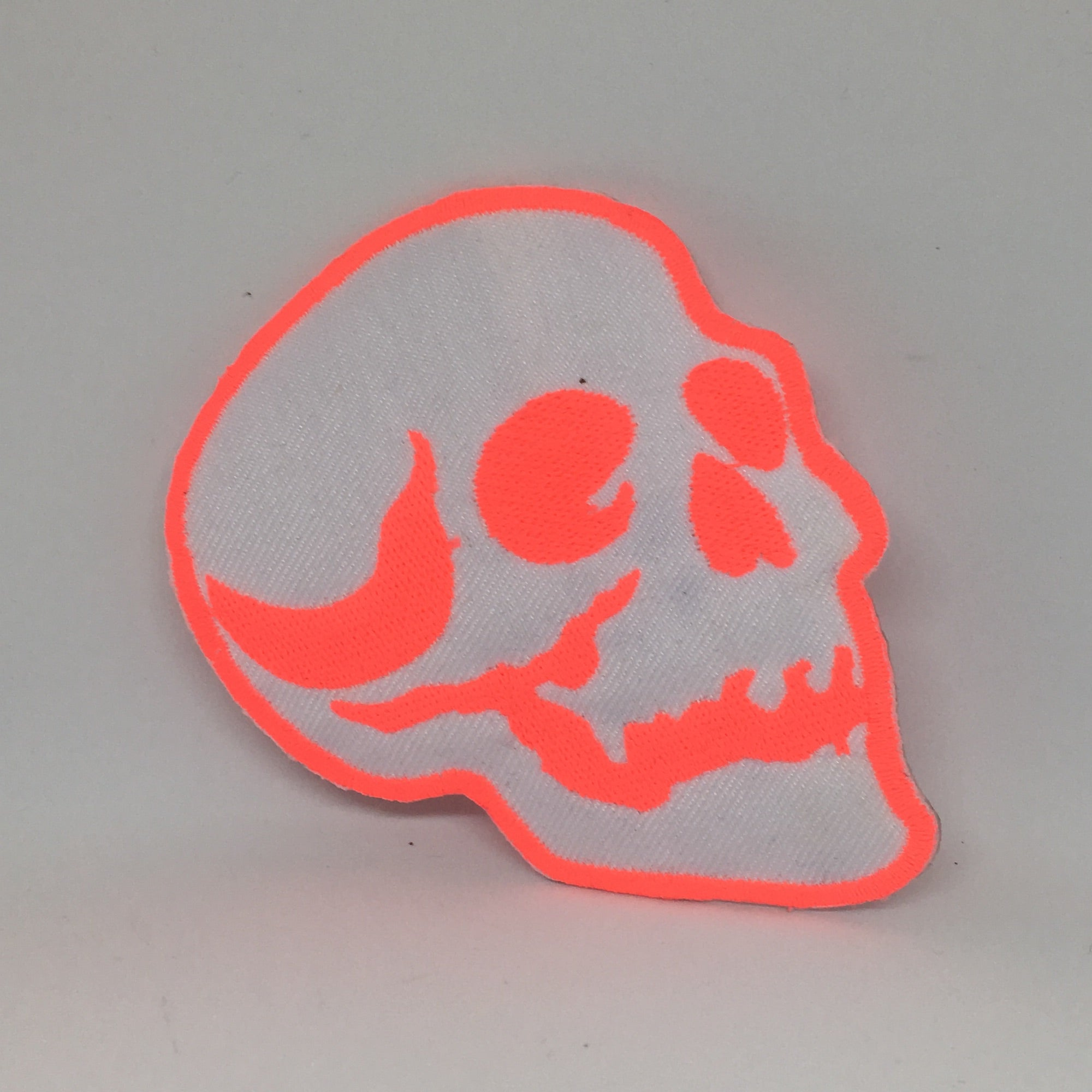 Orange skull iron-on patch