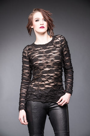 woman in Alice apocalyptic top with see through layers Ministry of Style gothic collection