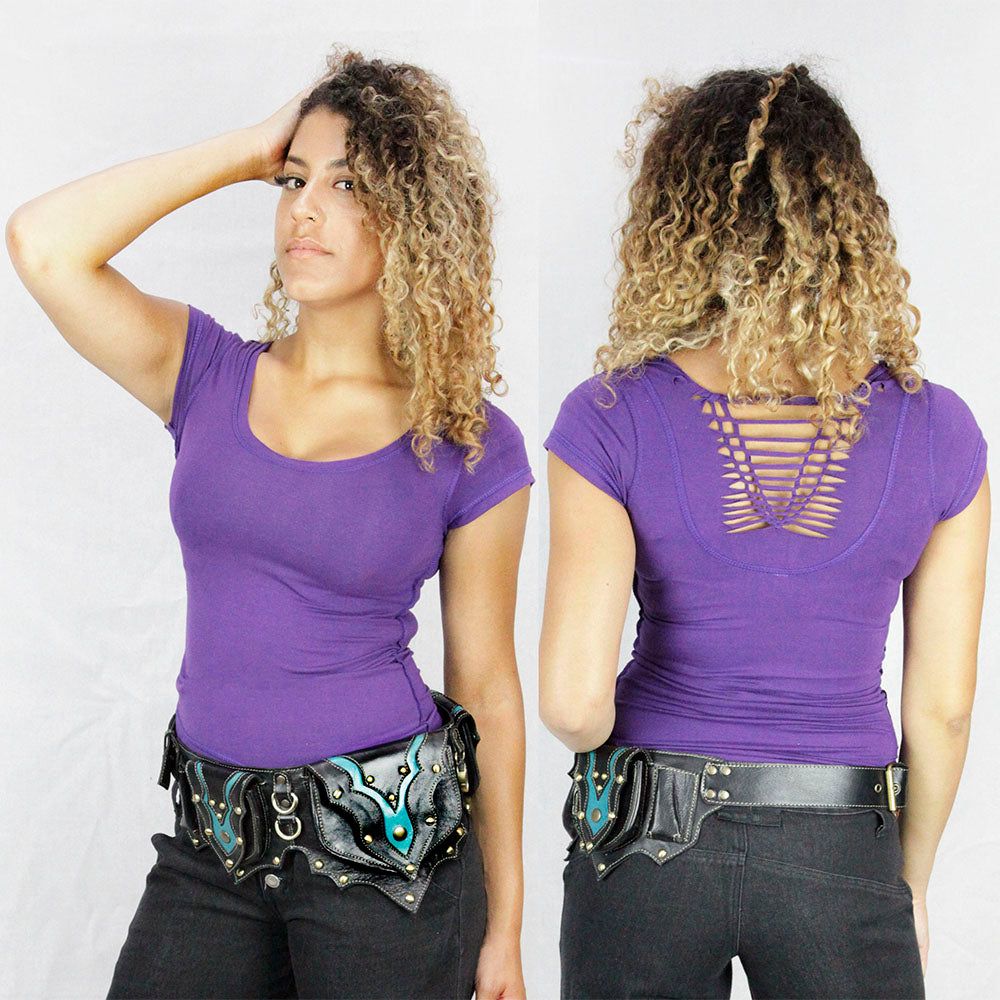 Mable lace back Top in purple ladies top ministry of style