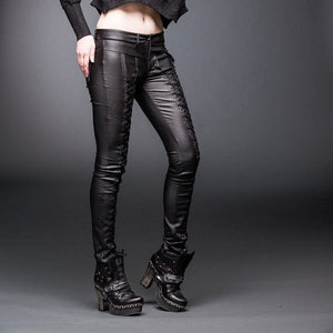 laceup leather look jeans