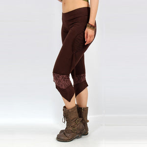 ladies legs wearing brown pixie leggings from Ministry of style