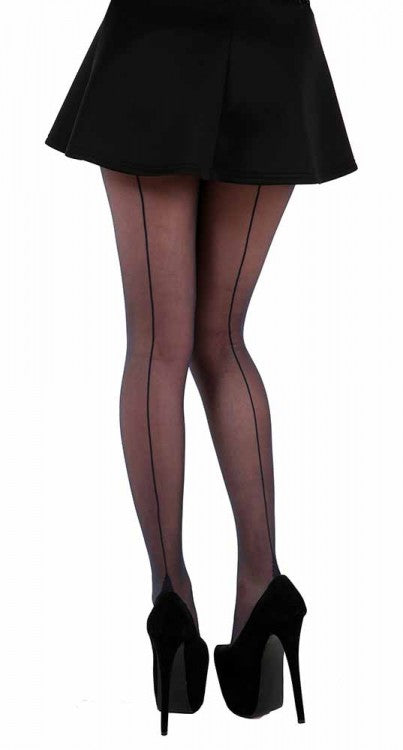 back seam black stockings
