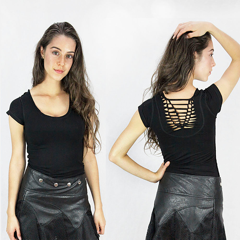 Mable lace back Top in black ladies top ministry of style