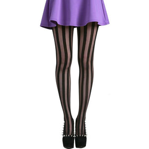 vertical stripe tights with solid and shear strips