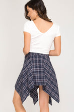 Plaid Shirt Mini Skirt Blue