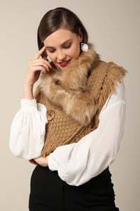Faux Fur Knitted Scarf Tan