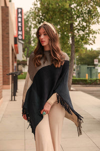 Color Block Tasseled Poncho