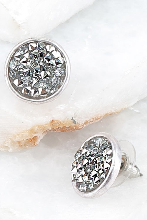 Glitter Post Earrings Sliver