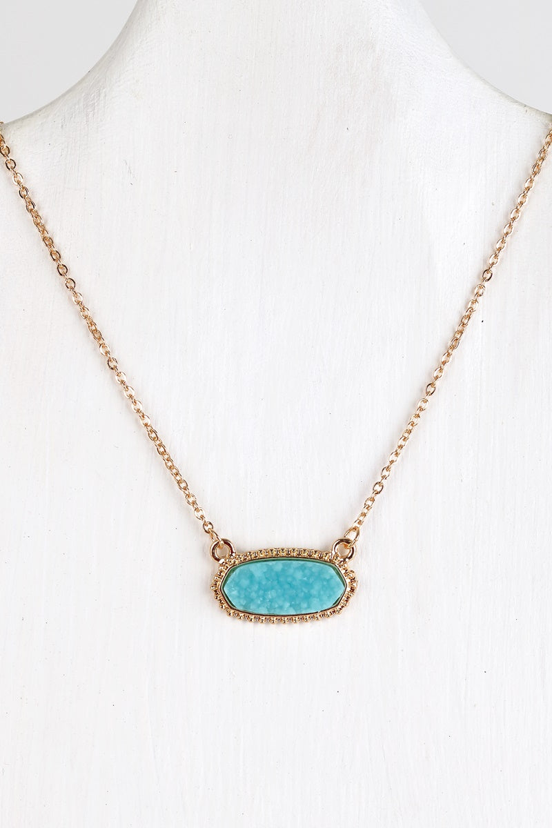 Druzy Necklace Teal
