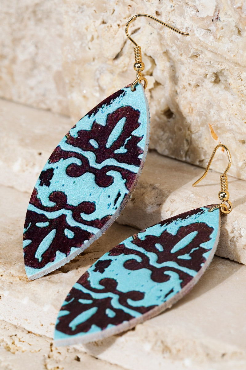 Print Earrings Teal