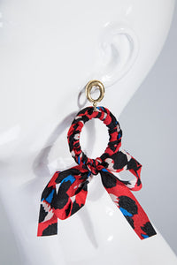Animal Print Fabric Earrings Black