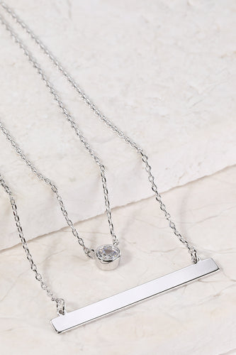 Layered Charm and Bar Necklace - Sliver