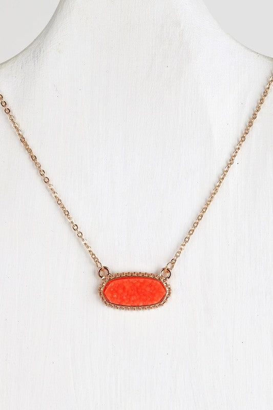 Druzy Necklace Orange