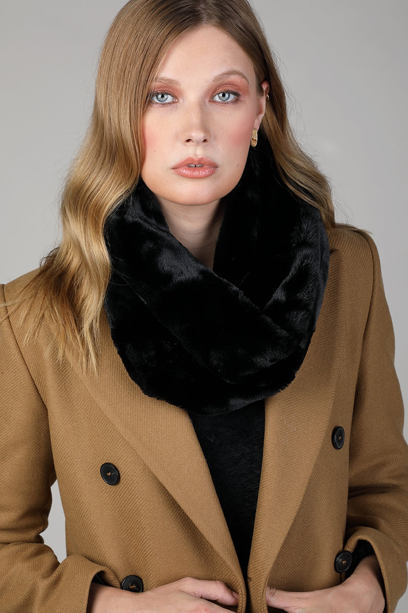 Faux Fur Tube Scarf Black