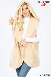 Faux Fur Vest Cream