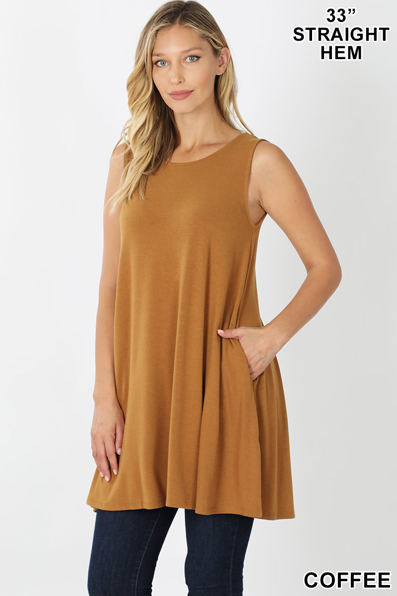 Coffee Tank Top with Side Pockets