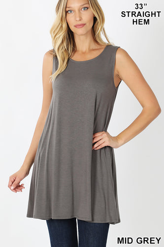 Grey Tank Top with Side Pockets