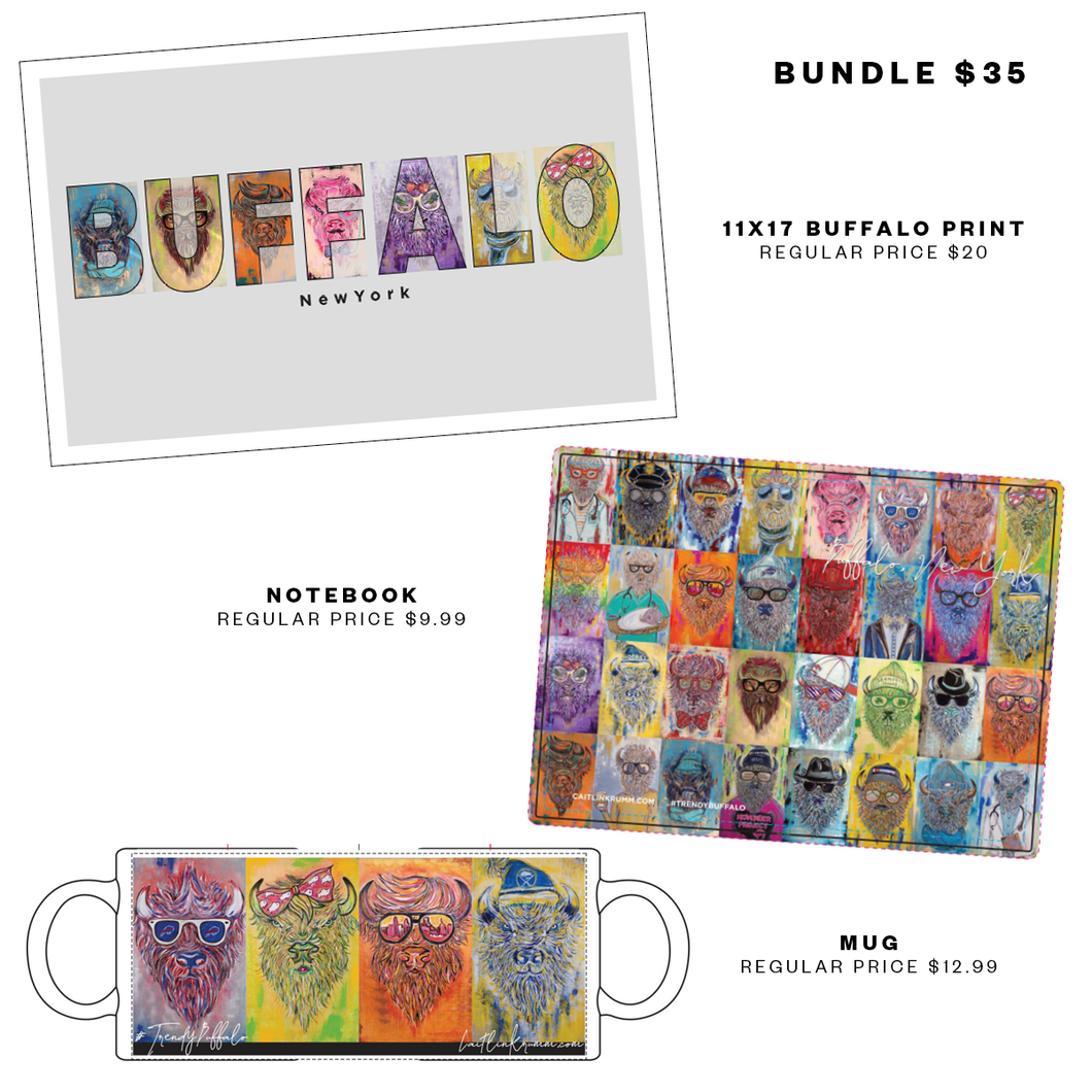 Three Item Trendy Buffalo Gift Bundle