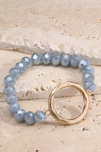 Beaded Circle Charm - Blue Grey/Gold