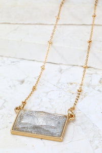 Rectangle Charm - Short - Sliver